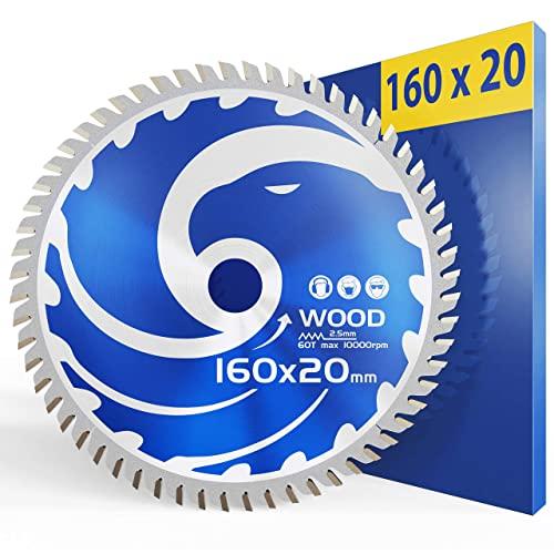 FALKENWALD Hoja de sierra (160 x 20 mm, ideal para madera, compatible con Metabo KS 55 FS y Bosch 165 PKS 55 A, compatible con hoja de sierra circular Bosch 160 x 20, hoja de sierra circular 160)