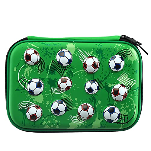 HH Family Pencil Case for Boys Hardtop Zipper Pouch with Compartments Large Capacity Pen Organizer for Kids (Soccer)