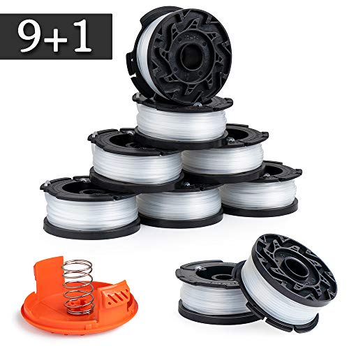 Future Way Pre-Wound AF-100 Weed Eater Spool Set, Compatible with Black and Decker GH600, GH900 Trimmers, 9 Spools & 1 Cap, Easy to Install
