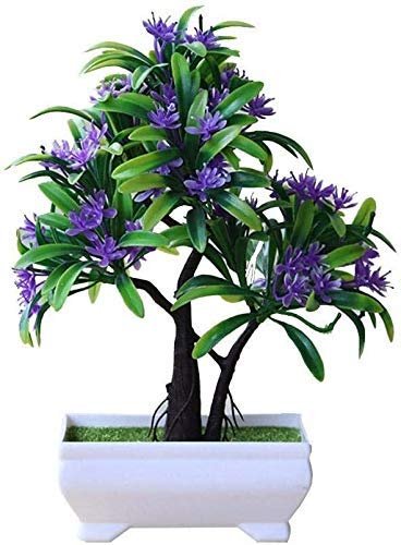 LJYY Art Bonsai With Artificial Flowers Green Plants - Bushes Artificial Bonsai Tree In A Pot, Plastic Flower Pots Decorative Kitchen For Office Garden Wedding, 25cm High (Color : Purple)