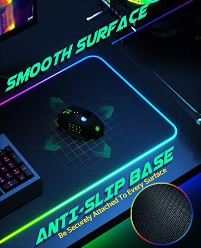UtechSmart - Alfombrilla de ratón para videojuegos con 14 modos de iluminación, 2 niveles de brillo, alfombrilla para… 3