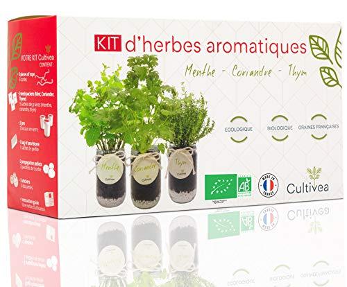 Cultivea –Bio Kräuter Anzuchtset -100{fc076155b06ce5bf8695f1bb134e51f57b282ea2e85f809a78de4c002b250156} Öko Kräutersamen – Indoor Garten – Bio Samen – Das perfekte Geschenkset – Pflanzset (Minze, Koriander und Thymian) – DIY –