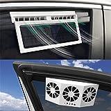 Car Solar Power Fan Car Air Fan Car Exhaust Fan Double Air Outlet Car Window Cooling Cooler Rechargeable Ventilation Summer Car Fan,A