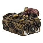 Ebros Faux Bronze Steampunk Octopus On Pirate Treasure Chest Decorative Jewelry Box Figurine Gas Mask Kraken Foot… 7