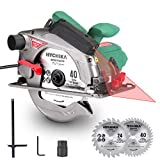 "Circular Saw, HYCHIKA 12.5A Electric Saw with Fixed Speed 4700RPM, 2Pcs Blades(24T+ 40T): 7-1/4', Max Cutting Depth 2-1/2""(90°), 1-4/5""(45°), Laser Guide, Pure Copper Wire Motor, 10Ft Power Cord"