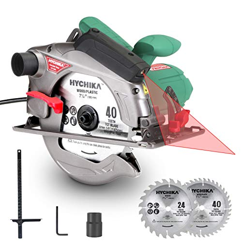 """Find Discount Circular Saw, HYCHIKA 12.5A Electric Saw with Fixed Speed 4700RPM, 2Pcs Blades(24T+ 40T): 7-1/4″, Max Cutting Depth 2-1/2""""(90°), 1-4/5""""(45°), Laser Guide, Pure Copper Wire Motor, 10Ft Power Cord"""