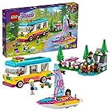 LEGO 41681 Friends Bosque: Autocaravana y Barco de Vela, Juguete de Construcción con Mini Muñecas y Figura de Mapache