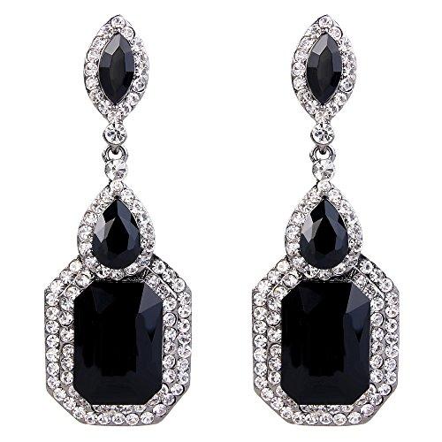 BriLove Wedding Bridal Dangle Earrings for Women Emerald Cut Crystal Infinity Figure 8 Chandelier Earrings Black/Clear Black-Silver-Tone