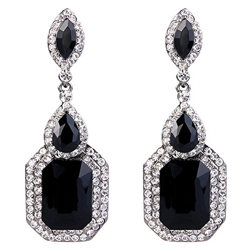 BriLove Wedding Bridal Dangle Earrings for Women Emerald Cut Crystal Infinity Figure 8 Chandelier Earrings Black/Clear Black-Silver-Tone
