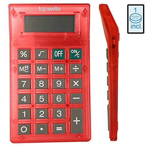 Taschenrechner Digital für Büro Schule Arbeit natürlichem Display Tischtaschenrechner moderner Taschen Rechner Bürorechner Schulrechner Taschen-Rechner Standard Tischrechner 8-Stellig (Rot)