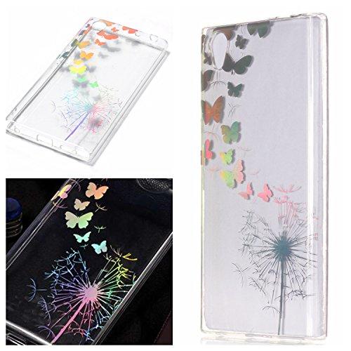 E-Mandala Sony Xperia L2 Hülle Ultra Dünn Slim Durchsichtig Silikon Schutzhülle Handy Tasche Etui Handyhülle Transparent mit Muster - Löwenzahn Pusteblume Schmetterlinge Blumen