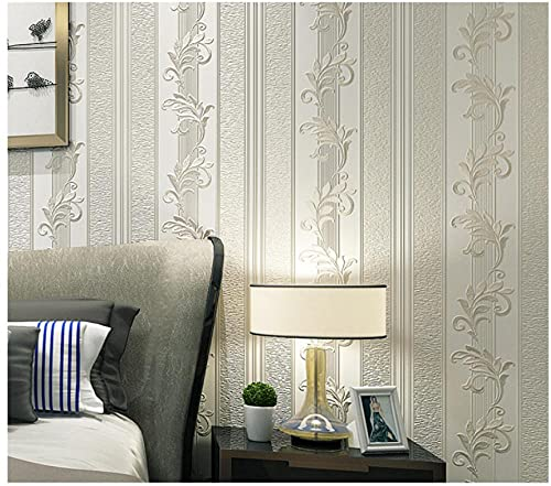 Papel pintado 3D Rayas florales no tejido Papel pintado Beige claro para decoración de pared de dormitorio y hogar, papel pintado minimalista de lujo 0.53mx9.5m