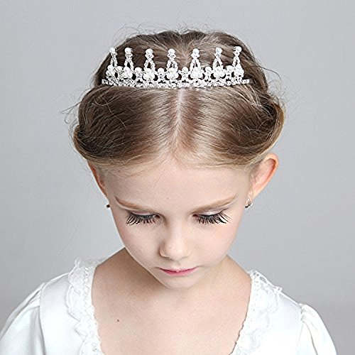 SudaTek Child Crystal Tiara Crown for Flower Girls, Pearl Princess Costume Crown
