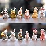 Hengqiyuan Satz von 12 entzückenden Mini-Ostern-Bunny-Figuren für Party-Kuchen-Dekoration - Thumbnail-Kaninchen für Kinder - für Büro und Zuhause,12pcs