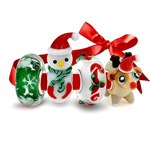 Bling Jewelry 4 Vetro di Murano Set di Natale Renne Candy Cane Pupazzo di Neve Fiocco di Neve Fascino Cordone per Donne Argento 925