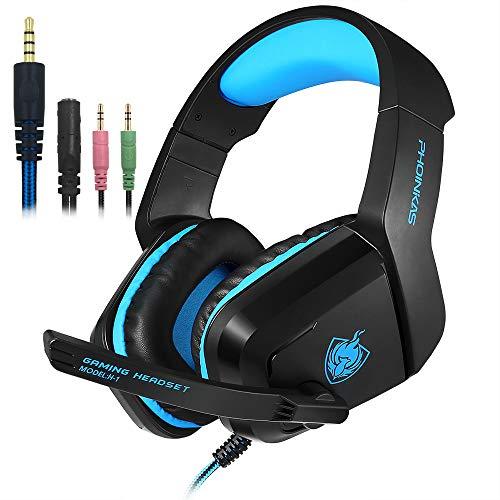 SENHAI Auriculares del Juego de Ordenador de 3.5mm con micrófono Earmuffs para PC PS4 Xbox One Controller,Cancelación de Ruido Bass Surround Games Teléfono Skype en línea