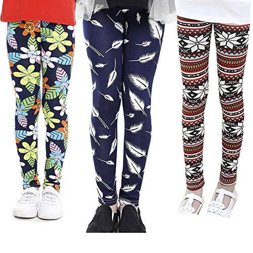Z-Chen 3 Pares de Pantalones LeggingsChicas Estampado de Flores para 2 Años Color C