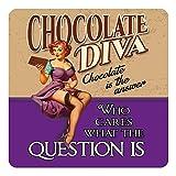 RKO Chocolate Diva, Divertido Pin-Up Niña Loves Chocolate-Parent - 9.5 x 9.5 cm (Coaster)