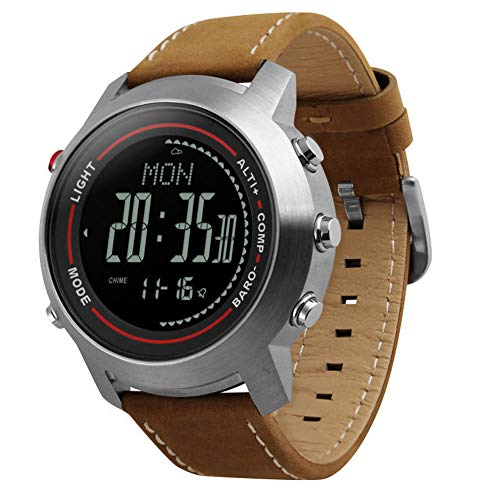 GYJUN Herren Multifunktionsuhr Outdoor Sports wasserdichte Armbanduhren Digitalanzeige Chronograph Mehrere Zeitzonen Höhenmesser Barometer Kompassuhren,Color_B
