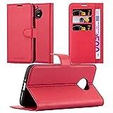 Cadorabo Hülle für Motorola Moto G5S in Karmin ROT - Handyhülle mit Magnetverschluss, Standfunktion & Kartenfach - Hülle Cover Schutzhülle Etui Tasche Book Klapp Style