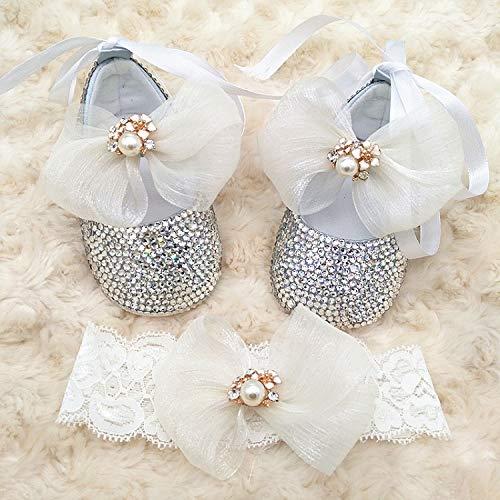 Handmade Custom Bling Diamond Baby Prewalker Shoes Organza Bow Adorable Newborn Shoes Little Girls Party Shoes