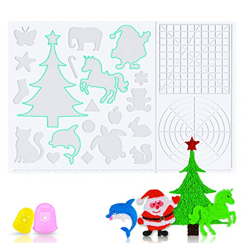 ZALAVER 3D Pen Mat, 3D Printing Pen Heat-Resistant Silicone Pad with Patterns, Foldable Design 3D Pens Drawing Tools with 2 Finger Protectors (16.2 x 10.9 Inches) Clear