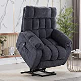 Peciafy Microfibre Power Lift Electric Recliner Chair Massage Heat, Armchair Sofa Lounge Chair, Adjustable Modern Single Recliner Sofa Chair with Remote Control for Living Room Bedroom - Blue