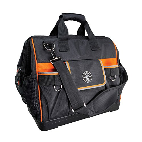 Klein Tools 55469 Tradesman Pro Wide-Open Tool Bag Made of 1680 Ballistic Weave with Molded Bottom and Detachable Shoulder Strap