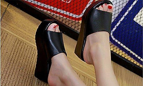 SCLOTHS Tongs Femme Chaussures Pente d'usure extérieure antidérapante à Fond épais en Similicuir Haut Talon Casual