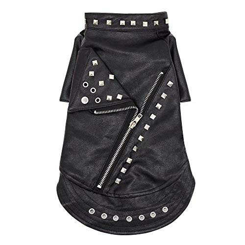 Didog Dog Leather Jacket,Studded Motorcycle Clothes,Windproof & Waterproof,Decorative Zipper & Rivet for Small Dogs,Puppies & Cats