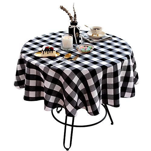 Kaaltisy 48 Inches Buffalo Checkered Tablecloth Round Cotton...