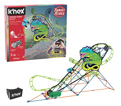 Image of the K'NEX Thrill Rides – Twisted Lizard Roller Coaster Building Set with Ride It! App – 402 Piece – Ages 7+ Building Set (Amazon Exclusive)