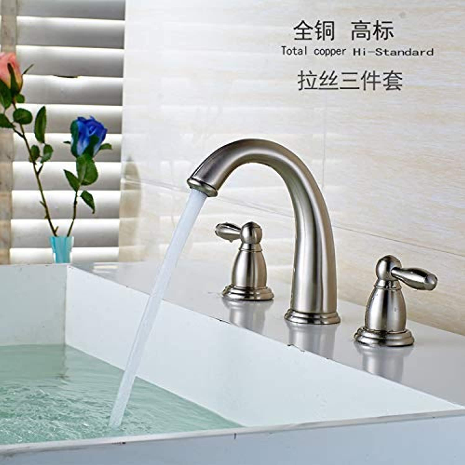 Oudan The Whole Copper Hot and Cold Taps Manufacturers Mixer Bathroom Cabinet Washbasin Mixing Valve Bath Fine Three Holes Drawing (color   Brushed, Size   -)