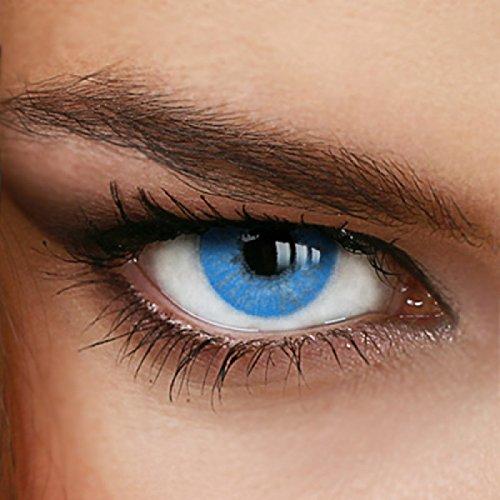 Farbige Jahres-Kontaktlinsen Naturally Sweet Blue - MIT und OHNE Stärke in BLAU - von LUXDELUX® - ohne Stärke (+/- 0.00 DPT)