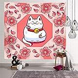 Tapiz de tela colgante de gato de la suerte, manta de fondo, toalla de playa, cuadro colgante para el hogar, mantel decorativo, 100 * 150 cm