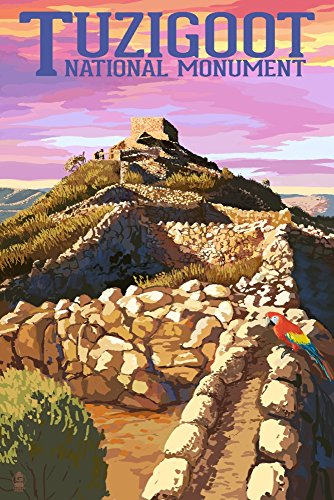 Tuzigoot National Monument, Arizona, Sunset (9x12 Art Print, Wall Decor Travel Poster)