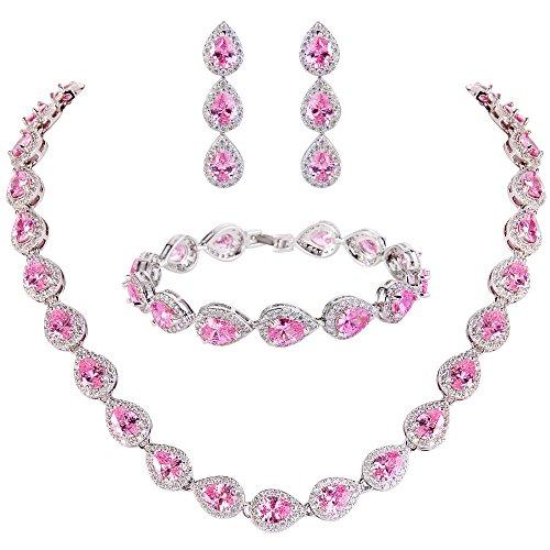 EVER FAITH Juegos de Joyas para Mujer Zirconia Cúbica Elegante Lágrima Róseo Tono Plateado Collares Pulsera Pendientes Conjunto