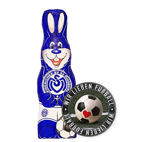 MSV Duisburg Schokoladen Osterhase, Schokohase 150 g - Plus Aufkleber Wir lieben Fussball