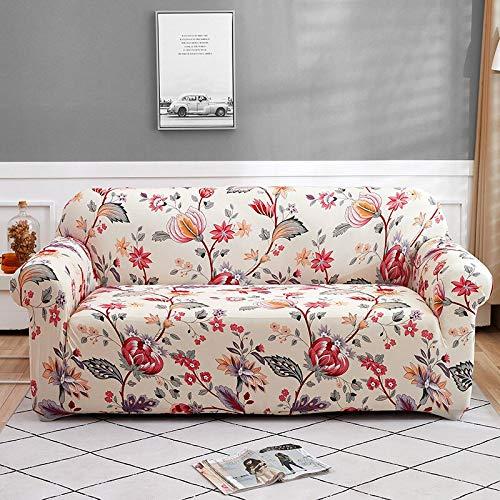 WXQY Funda de sofá Floral para Sala de Estar, Funda de sofá Flexible, Todo Incluido sofá de Esquina a Prueba de Polvo Toalla Funda de sofá A20 4 plazas