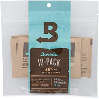 Boveda 58% RH 8 Gram, Patented 2-Way Humidity Control, (1) 10-Pack, Unwrapped Boveda, Resealable Bag, Up to 1 oz (28g) of Cannabis; Terpene Protector, Slightly Drier Buds, Joints and pre-Rolls