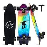 BELEEV Cruiser Skateboard, 68,5 x 20,3 cm, monopatín Completo para niños, Adolescentes y Adultos, 7 Capas de Arce Canadiense Double Kick Deck Concave Trick Skate Board (Nebulae)