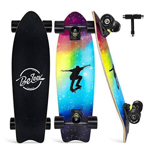 BELEEV Skateboard 27x8 Zoll Komplette Cruiser Skateboard für Kinder Anfänger Jugendliche Erwachsene, Ahorn Double Kick Deck Concave mit All-in-one Skate T-Tool (Nebulae)