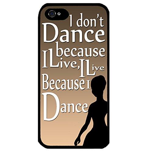 Para iphone 5/5S diseño de bailarina dancing de silueta de con texto en inglés con la palabra art negro funda
