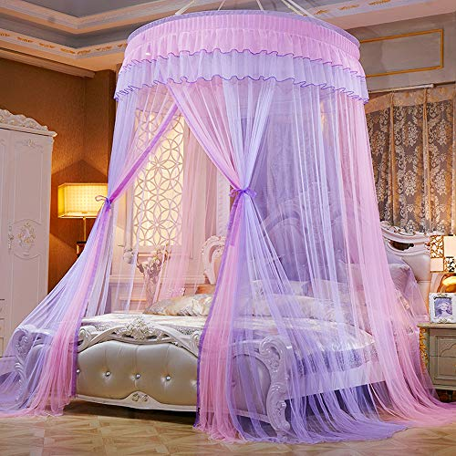 Mengersi Bed Canopy Mosquito Net - Princess Elegant Lace Round Sheer Mesh Bed Curtains - Princess Dome Bedding Net for Twin Full Queen King Size (Pink and Purple)
