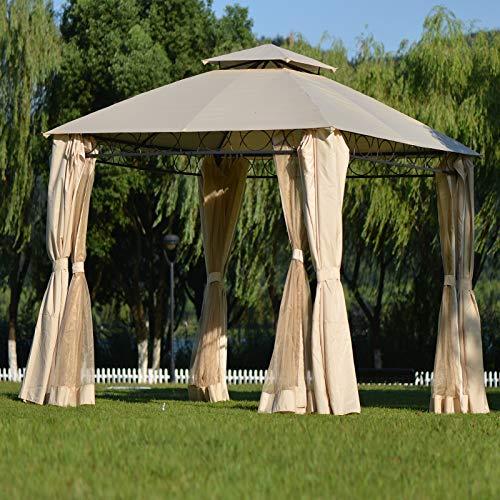 Gazebo Canopy Tent,12.7' X 12.7' Outdoor Gazebo for Patios,Outdoor BBQ Canopy,Large Party Tent,Metal Frame Waterproof Wedding Tent,UV Block Sun Shade for Garden Backyard Lawns Deck,Beige (Type 1)