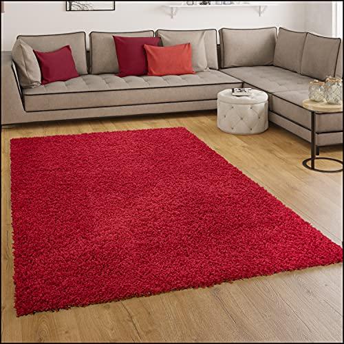 Paco Home Tapis Shaggy Longues Mèches en Rouge, Dimension:160x220 cm