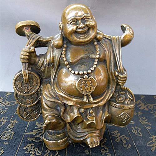 N&O Renovierung Haus Feng Shui Buddha Statue Reines Kupfer Handwerk Goldmünzen Maitreya Buddha Dekoration Für Ihr Wohnzimmer Bürodekoration Messing