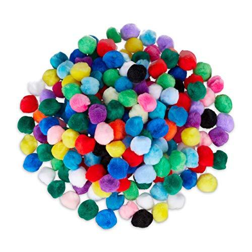 Relaxdays, bunt Pompons, kleine Bommeln zum Basteln, 200er Mini Pom Set, Deko für Geburtstag & Hochzeit, D: 2 cm, Stoff, Pack