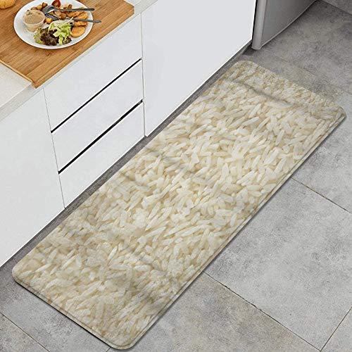 GEEVOSUN Küchenläufer Waschbar rutschfest Küchenmatte Weißer Langer Reis ungekochte Rohe Getreide-Makro-Nahaufnahme Küche Fußmatte Badematten