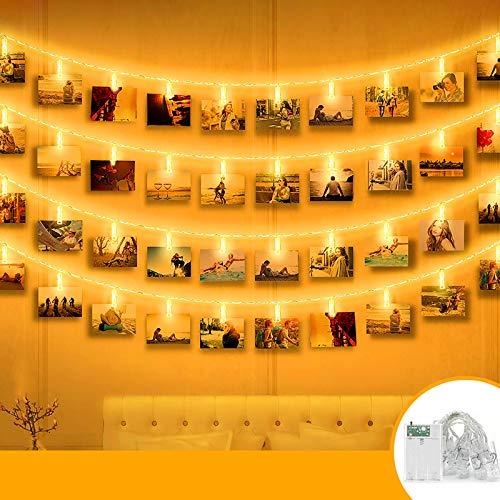 LED Fotoclips Lichterkette für Zimmer, Seglory 6M 40LED Lichterkette mit 40 Klammern für Fotos Lichterkette Wand Batteriebetriebene Lichterkette Bilder für Wohnzimmer, Weihnachten, Hochzeiten Warmweiß